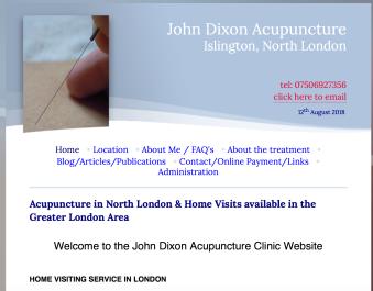 Screen Shot John Dixon acupuncture old website