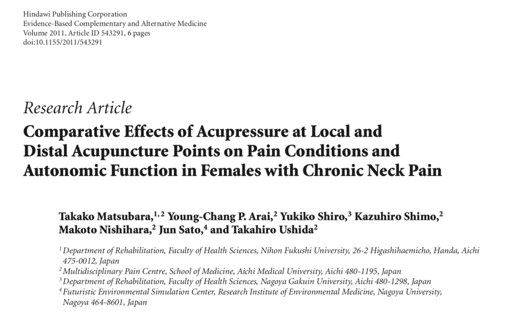 acupressure for neck pain research