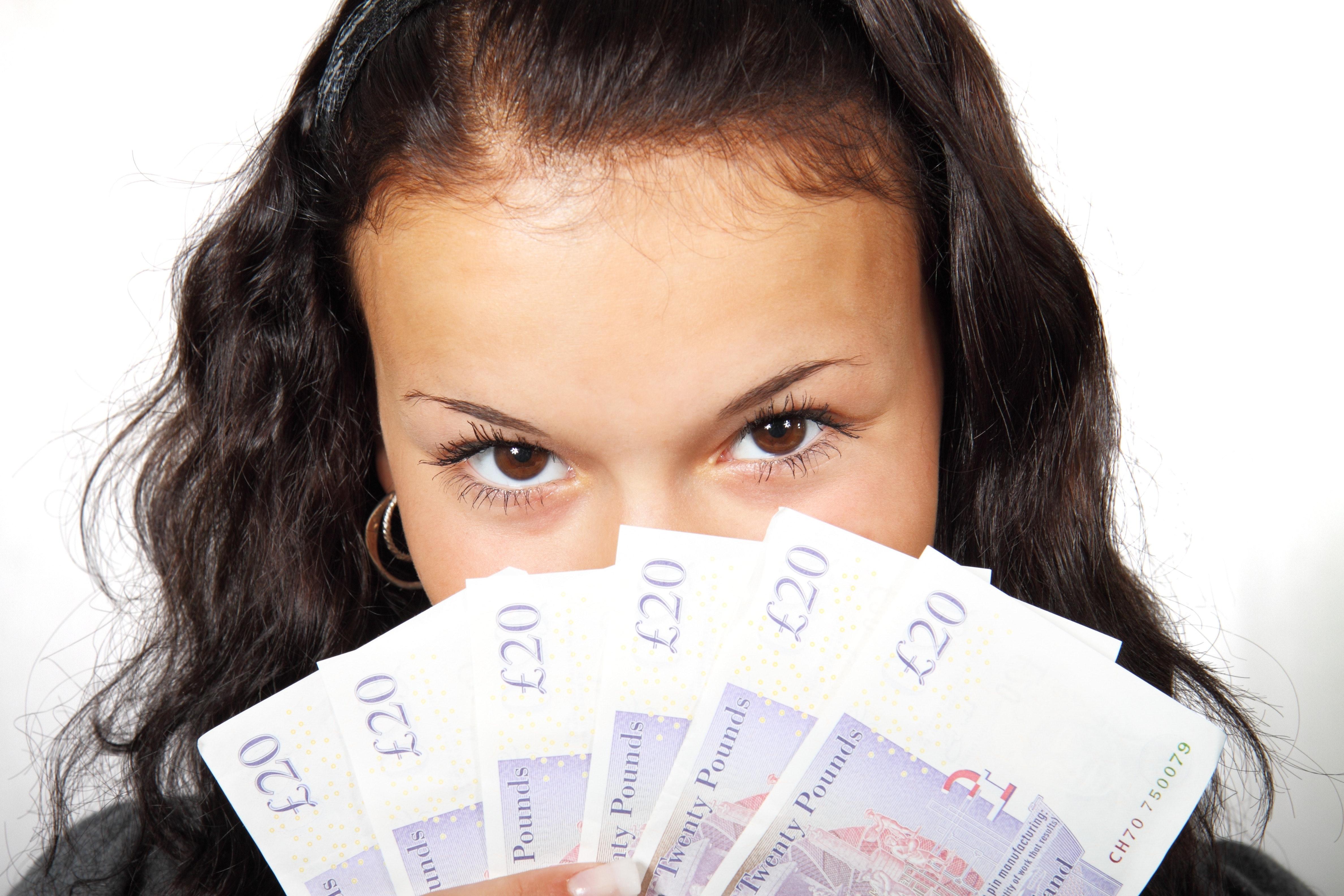Woman money Public Domain Pictures via Pixabay com